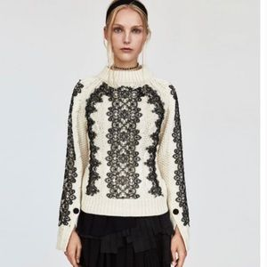 ZARA cable knit sweater with lace small